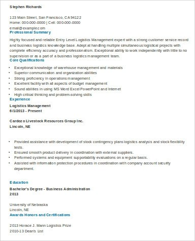 sample logistics resume test manager resume templates full size