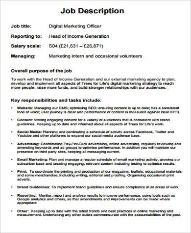 9+ Marketing Officer Job Description Samples Sample Templates