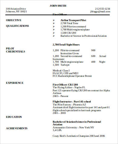 6+ Sample Pilot Resumes Sample Templates