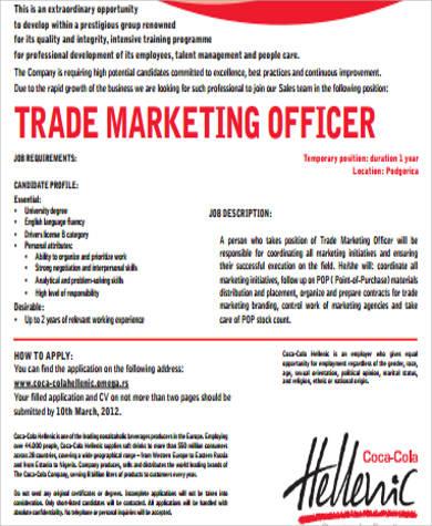 Marketing Officer Job Description Sample - 9+ Examples in Word, PDF - trade marketing job description