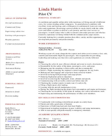 6+ Sample Pilot Resumes Sample Templates - pilot resume examples