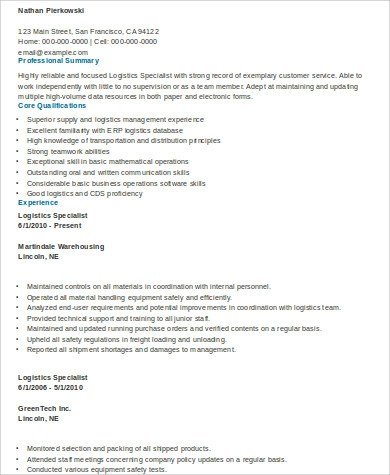 Sample Logistics Resume - 9+ Examples in Word, PDF