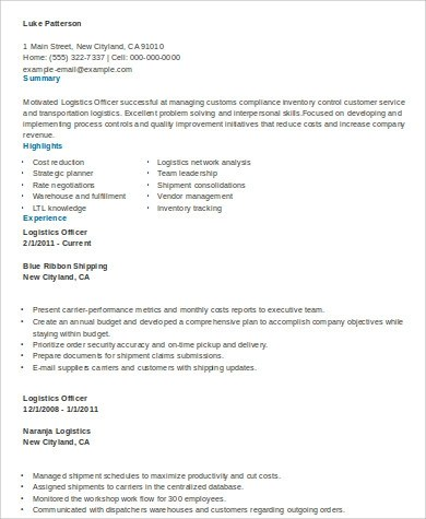 logistics resume samples jobs billybullock us - Resume Example For Jobs