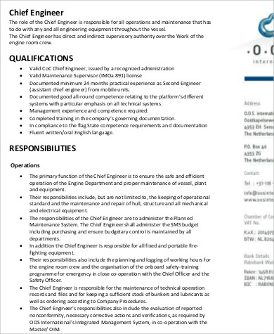 Chief Engineer Job Description Sample - 9+ Examples in Word, PDF