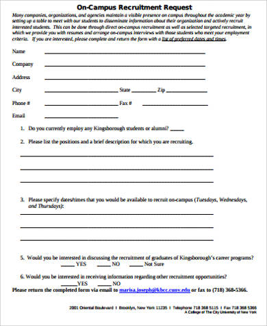7+ Sample Recruitment Request Forms Sample Templates