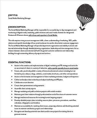 8+ Social Media Marketing Job Description Samples Sample Templates