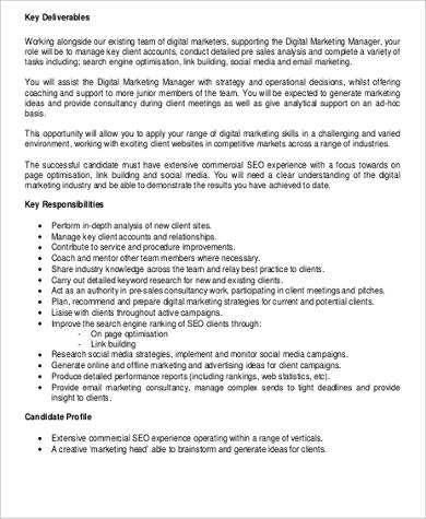 9+ Marketing Consultant Job Description Samples Sample Templates