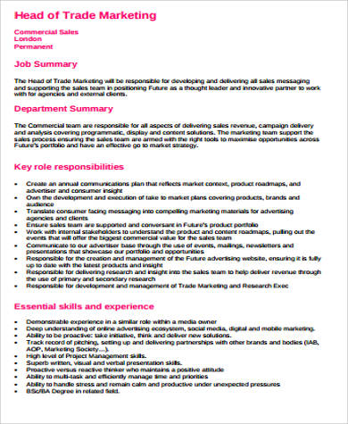 9+ Trade Marketing Job Description Samples Sample Templates - trade marketing job description