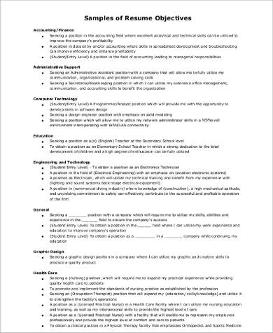 Sample Resume Career Objective - 8+ Examples in Word, PDF