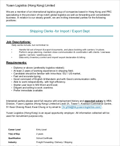 Captivating Charming Logistics Clerk Job Description Sample 7 Examples In Word Pdf 71