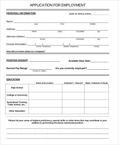 6+ Sample Printable Job Application - Free Sample, Example, Format - printable job application form
