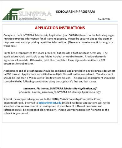 7+ Sample Scholarship Applications Sample Templates