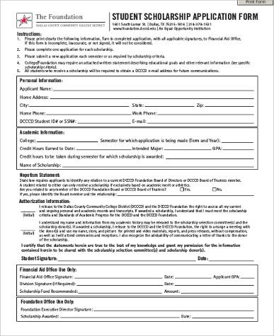 7+ Sample Scholarship Application - Free Sample, Example, Format