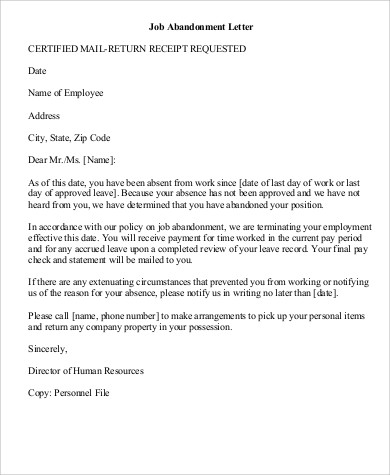 Job abandonment letter sample job abandonment letter examples in letters of termination of employment examples nodecvresume spiritdancerdesigns Images
