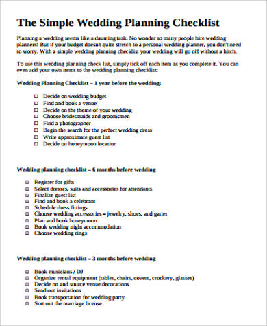 8+ Wedding Planning Checklist Samples in PDF Sample Templates