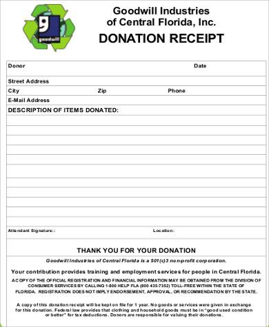 13+ Goodwill Donation Receipt Sample Templates