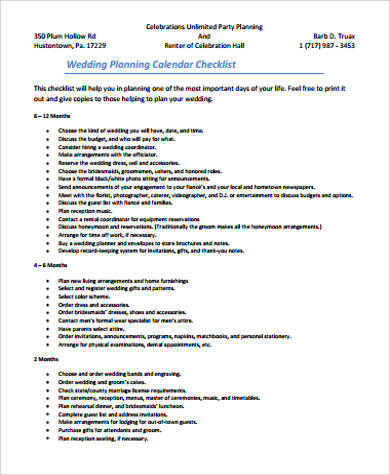 wedding planner calendar - Wedding Decor Ideas - sample planning calendar