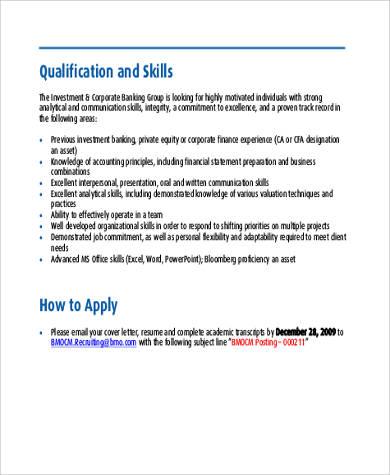 7+ Investment Banker Job Description Samples Sample Templates - investment banking associate sample resume