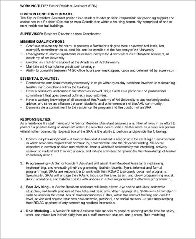 Resident Assistant Job Description Sample - 9+ Examples in Word, PDF
