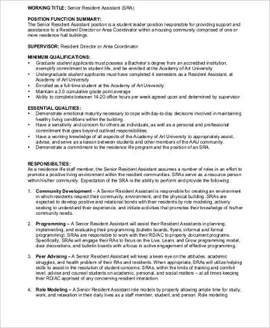 9+ Resident Assistant Job Description Samples Sample Templates
