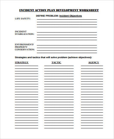 Sample Action Plan Work Sheet - 30+ Examples in Word, PDF - incident action plan