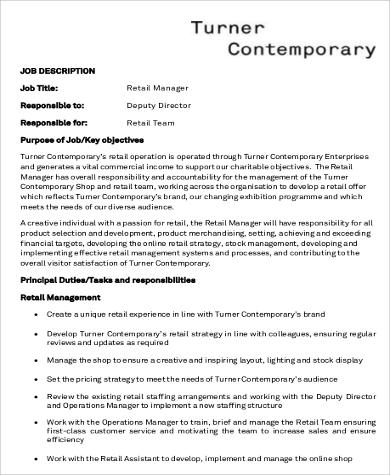 8+ Retail Manager Job Description Samples Sample Templates