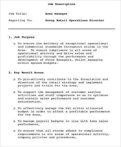 8+ Retail Manager Job Description Samples Sample Templates - retail manager job description