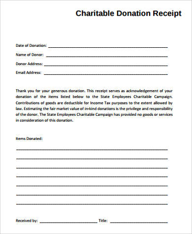 Charitable Donation Receipt - 7+ Examples in Word, PDF