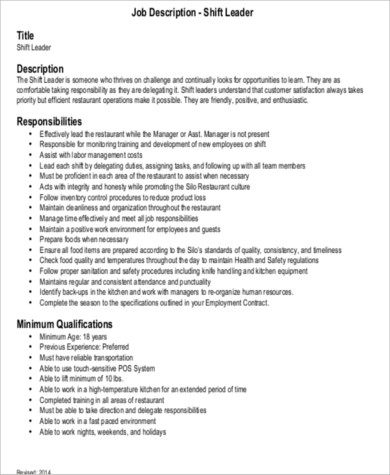 9+ Shift Leader Job Description Samples Sample Templates