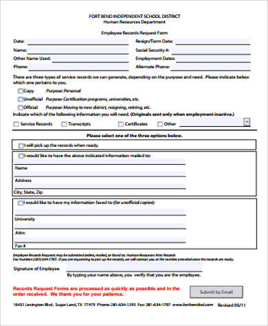 Sample Employee Record Form - 8+ Examples in Word, PDF
