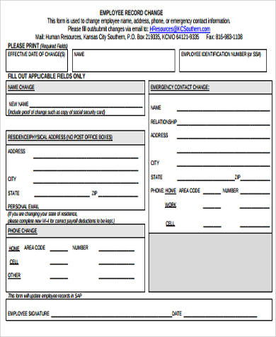 Sample Employee Record Form - 8+ Examples in Word, PDF - employee change form