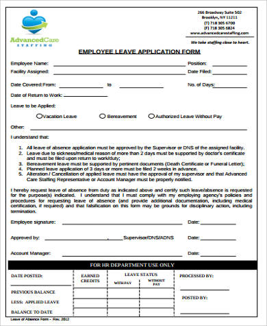 Sample Employee Leave Form - 9+ Examples in Word, PDF - leave application form for employee