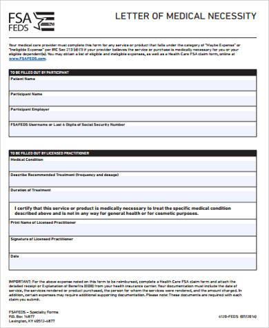 9+ Sample Medical Necessity Forms Sample Templates - letter of medical necessity form