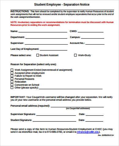 employee notice form - Akersart - employee notice form