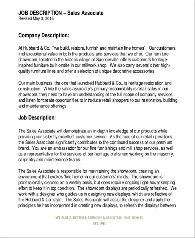 job description for a retail sales associate retail sales
