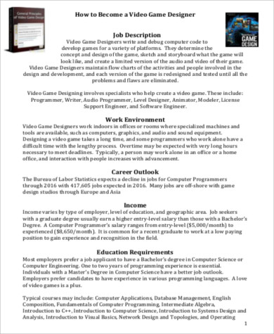 Video Game Programmer Sample Resume Game Programmer Free Resume