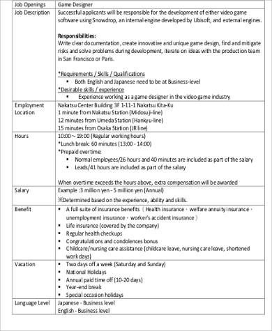 5+ Video Game Designer Job Description Samples Sample Templates - game designer job description