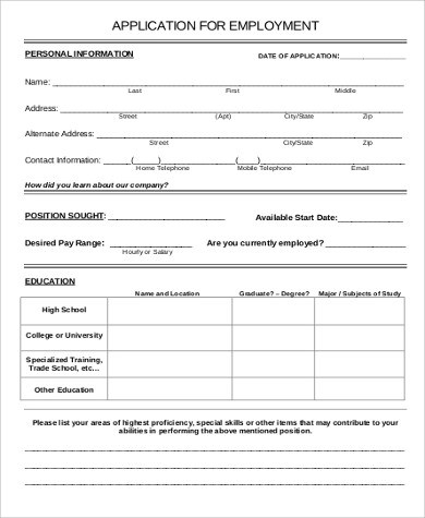 Free Job Application Sample - 6+ Examples in Word, PDF