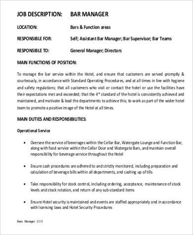 6+ Restaurant General Manager Job Description Samples Sample Templates - bar manager job description