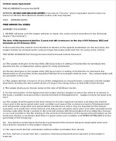 9+ Sample Vehicle Lease Agreements Sample Templates