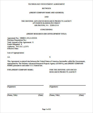 10+ Sample Investment Agreements Sample Templates