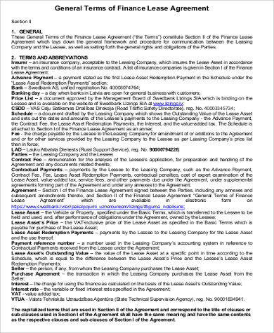 Sample Vehicle Lease Agreement - 9+ Examples in Word, PDF