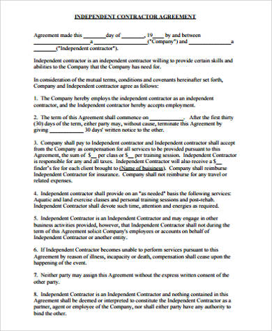 10+ Sample Contractor Agreements Sample Templates - sample contractor agreements