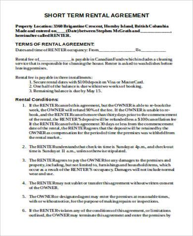 short term rental agreement - sample short term rental agreement