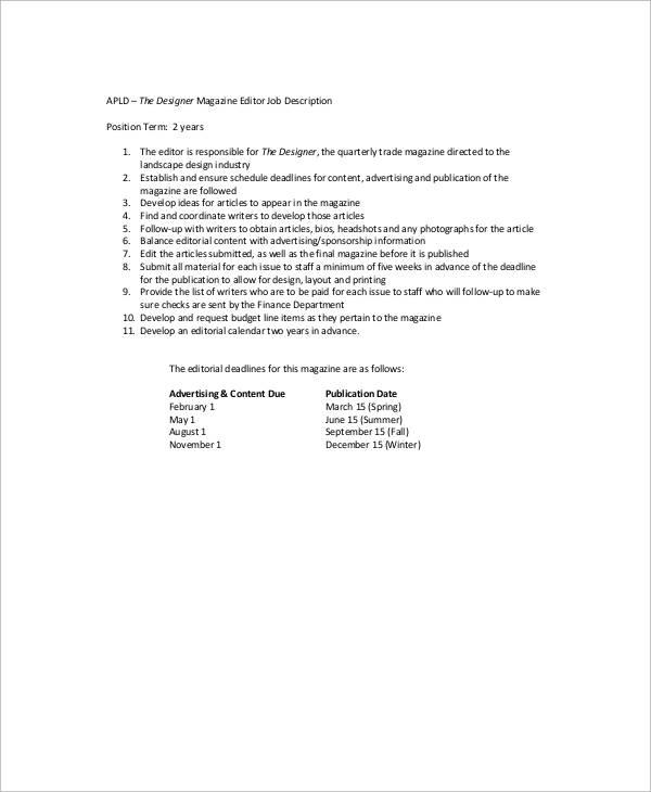 Magazine Editor Job Description Sample - 9+ Examples in Word, PDF