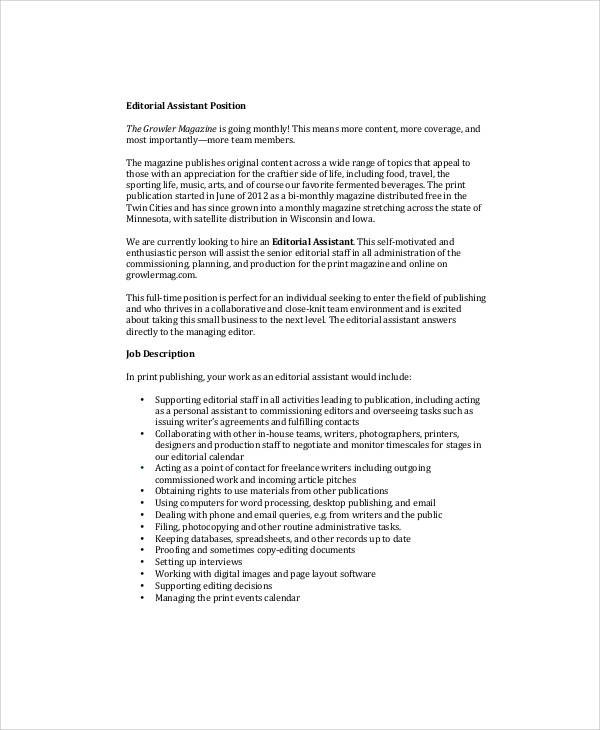 Magazine Editor Job Description - Design Templates