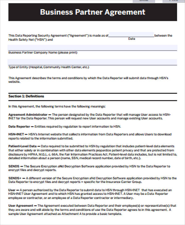 ... Sample Business Agreement   12+ Examples In Word, PDF   Sample Business  Partnership Agreement ...