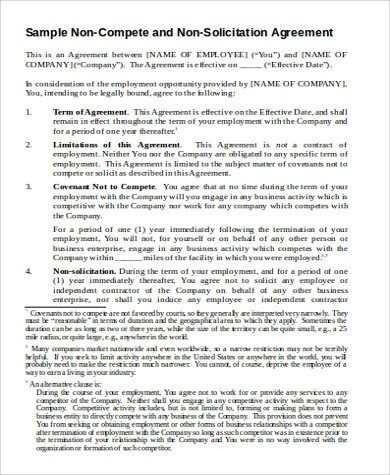 11+ Employee Non-Compete Agreement Samples  Templates - PDF, Word