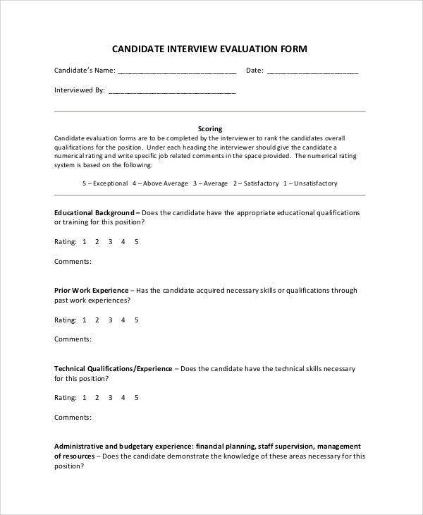 Sample Sheet - 38+ Examples in Word, PDF - interview assessment forms