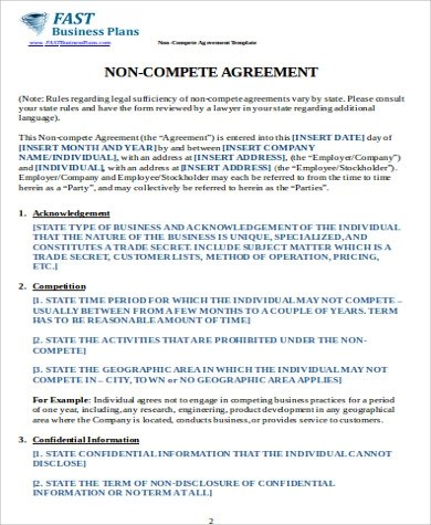 Sample Business Non-Compete Agreement - 7+ Examples in Word, PDF - business non compete agreement